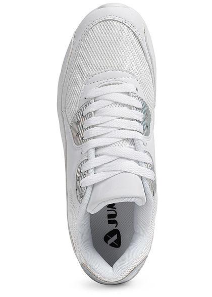 Seventyseven Lifestyle Damen Schuh Materialmix Sneaker zum schnüren weiss Effekt silber