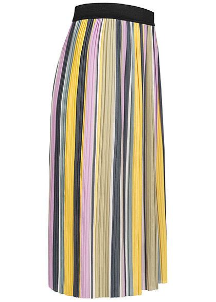 ONLY Damen Midi Multicolor Falten Rock Streifen Muster Gummibund sunshine gelb
