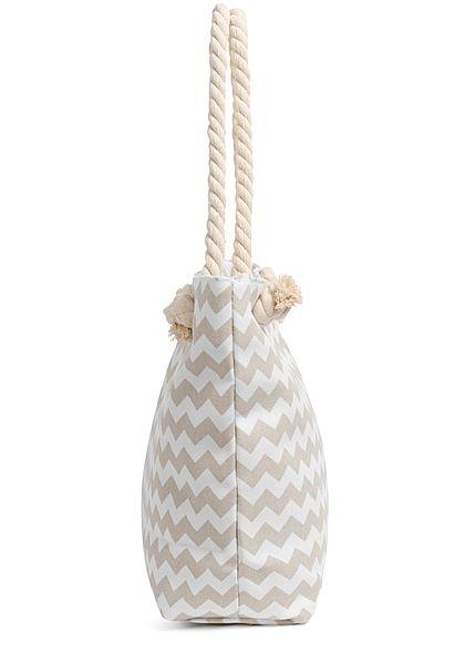 Hailys Damen Shopper Handtasche Zick Zack Print 47cmx30cm beige weiss
