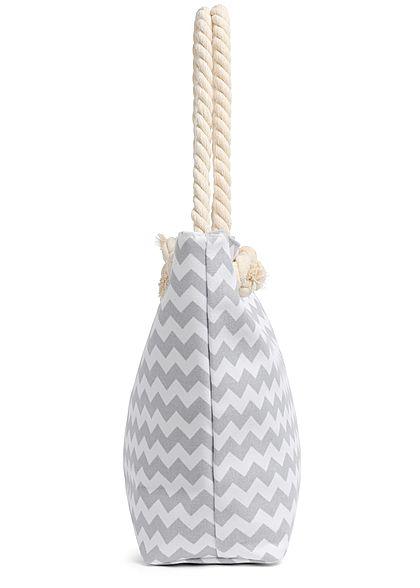 Hailys Damen Shopper Handtasche Zick Zack Print 47cmx30cm grau weiss