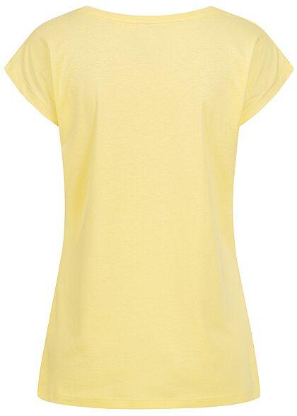 Stitch & Soul Damen T-Shirt Freedom Print chardonnay gelb