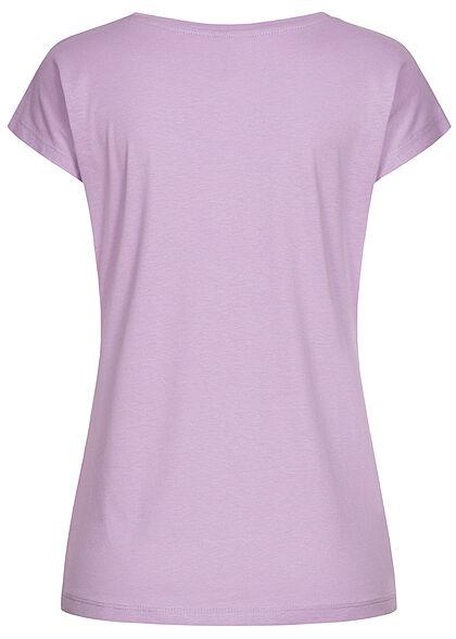 Stitch & Soul Damen T-Shirt L'Amore Print pastel lila
