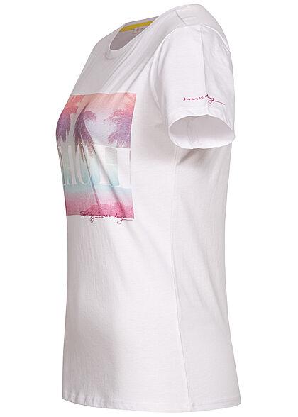 Stitch & Soul Damen T-Shirt Palmen Print weiss