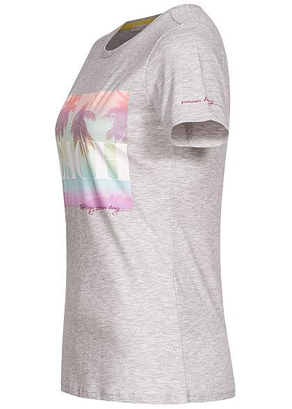 Stitch & Soul Damen T-Shirt Palmen Print hell grau melange