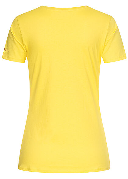 Stitch & Soul Damen T-Shirt Palmen Print citrus hell gelb