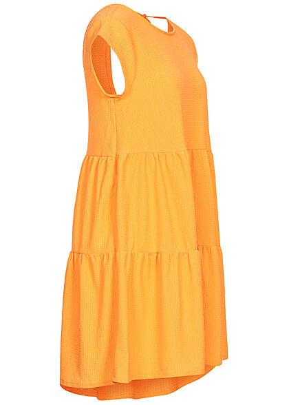 Stitch & Soul Damen Stufenkleid Rückenausschnitt Bindedetail honey gelb