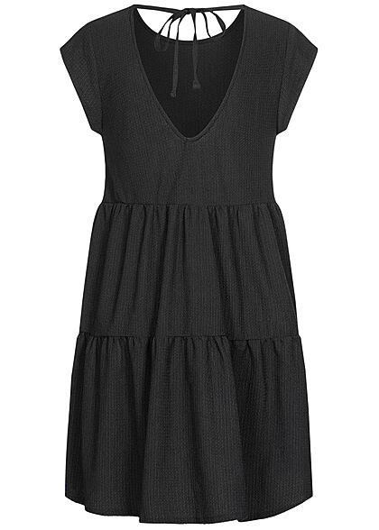 Stitch & Soul Damen Stufenkleid Rückenausschnitt Bindedetail schwarz