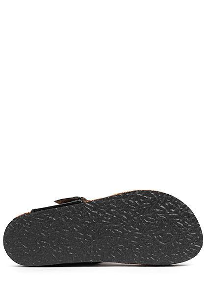 ONLY Damen Schuh Zehensteg Sandale Kunstleder Lackoptik mit Dekostein schwarz