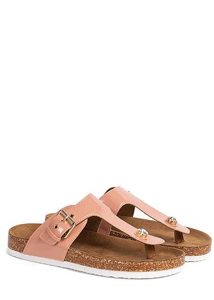 ONLY Damen Schuh Zehensteg Sandale Kunstleder Lackoptik mit Dekostein nude rosa