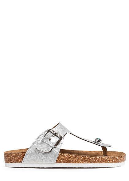 ONLY Damen Schuh Zehensteg Sandale Kunstleder Struktur mit Dekostein silber