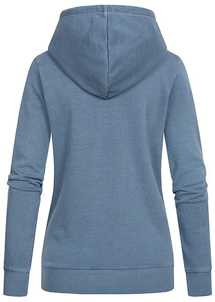 Tom Tailor Damen Basic Hoodie mit Kapuze Kängurutasche Tunnelzug soft mid blau