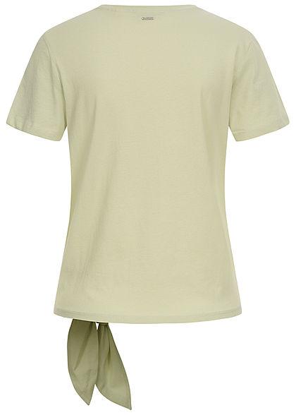Tom Tailor Damen T-Shirt mit Bindedetail seitlich Loose Fit dusty hellgrün