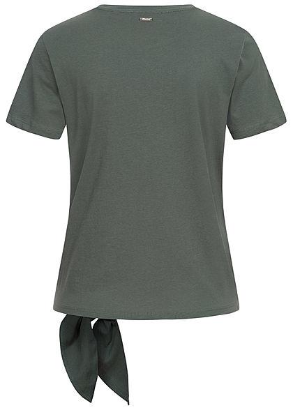 Tom Tailor Damen T-Shirt mit Bindedetail seitlich Loose Fit dusty pine dunkel grün