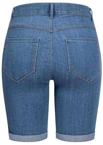 ONLY Damen NOOS Long Shorts 5-Pockets Mid-Waist Beinumschlag med. blau denim