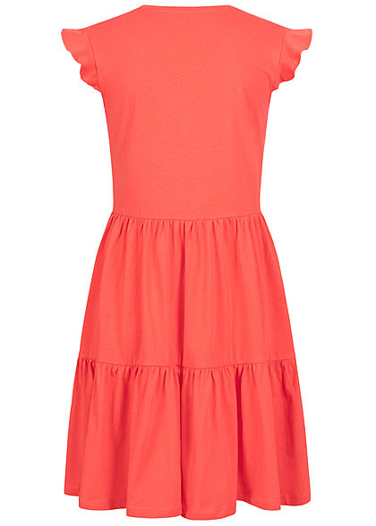 ONLY Damen NOOS V-Neck Mini Stufenkleid cayenne rot