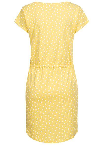 ONLY Damen NOOS T-Shirt Mini Kleid Tunnelzug Punkte Muster sunshine gelb cloud d. weiss