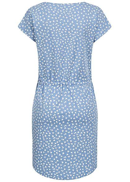 ONLY Damen NOOS T-Shirt Mini Kleid Tunnelzug Blumen Muster allure blau weiss