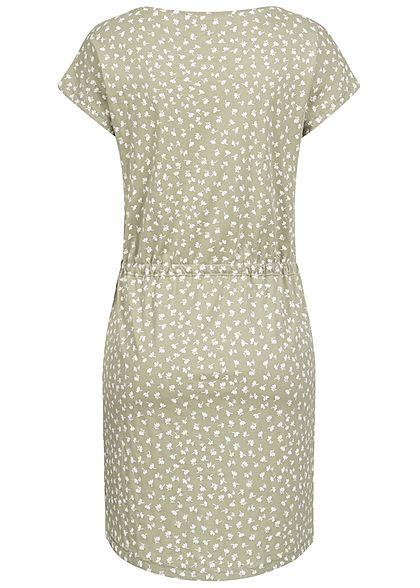 ONLY Damen NOOS T-Shirt Mini Kleid Tunnelzug Blumen Muster desert sage grün weiss