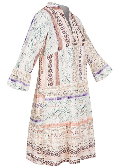 Hailys Damen V-Neck 7/8 Arm Viskose Puffer Kleid All Over Print weiss multicolor