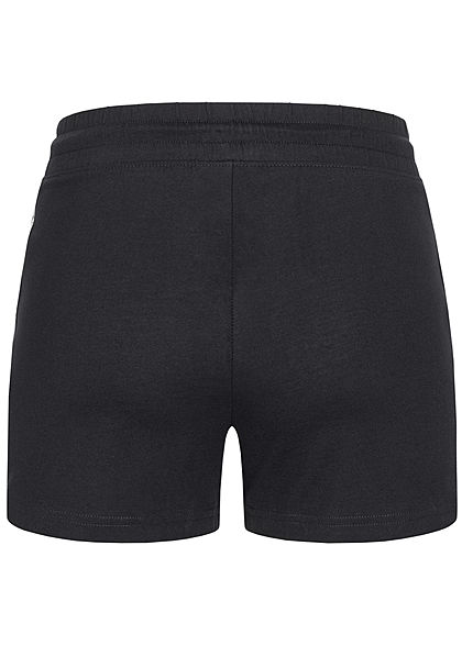 Champion Damen kurze Sweat Shorts Logoband seitlich 2-Pockets schwarz weiss