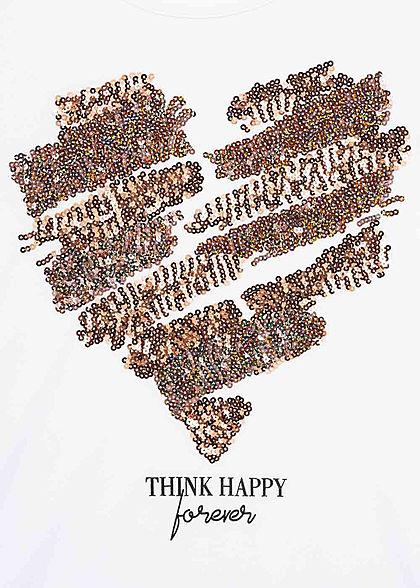 Seventyseven Lifestyle Damen T-Shirt mit Paillettenfront Herz Happy Print weiss