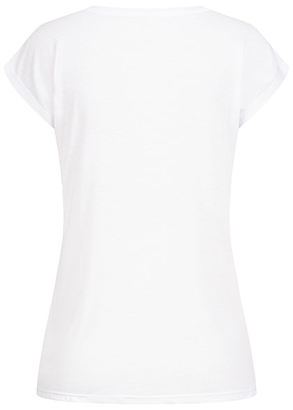 Seventyseven Lifestyle Damen T-Shirt mit Paillettenfront Herz Happy Print weiss