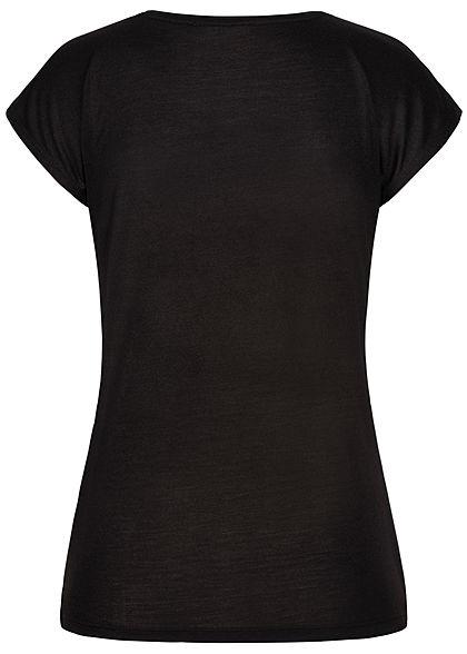 Seventyseven Lifestyle Damen T-Shirt mit Paillettenfront Herz Happy Print schwarz
