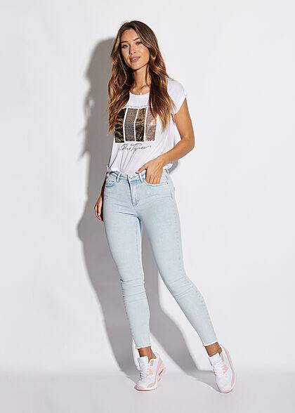 Seventyseven Lifestyle Damen T-Shirt mit Paillettenfront Enjoy-Live Print weiss