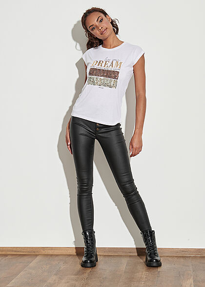 Seventyseven Lifestyle Damen T-Shirt mit Paillettenfront DREAM weiss gold kupfer