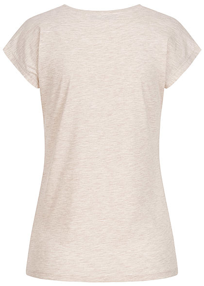 Seventyseven Lifestyle Damen T-Shirt mit Paillettenfront Animal Love Print oatmeal grau