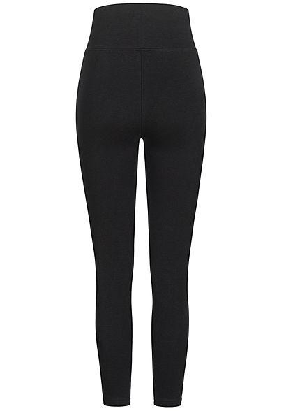 Seventyseven Lifestyle Damen High-Waist Leggings breiter Bund schwarz