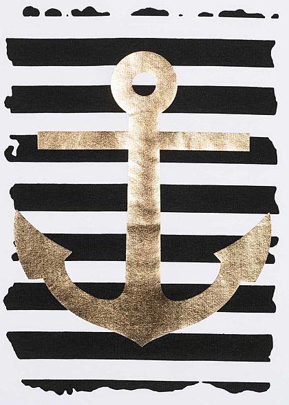 Fresh Tee Damen T-Shirt mit Anker Print & Streifen Muster weiss schwarz gold