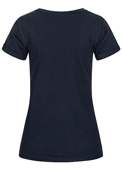 Fresh Tee Damen T-Shirt mit Anker Print & Streifen Muster navy blau weiss gold