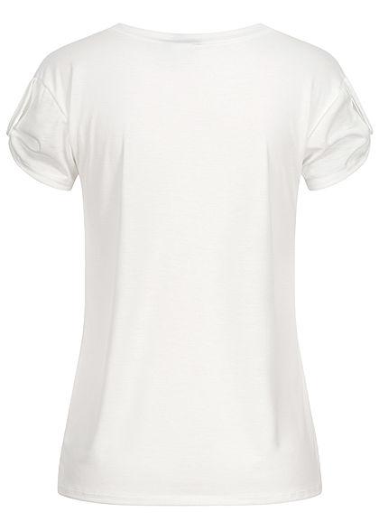 Fresh Tee Damen T-Shirt mit Ärmelumschlag Pusteblumen Kindness Print weiss
