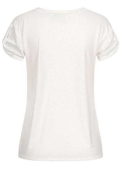 Fresh Tee Damen T-Shirt mit Ärmelumschlag Klatschmohn Print weiss rot