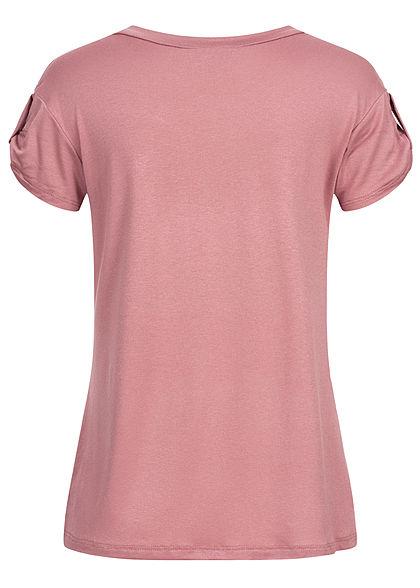 Fresh Tee Damen T-Shirt mit Ärmelumschlag Pusteblumen Print old rosa weiss