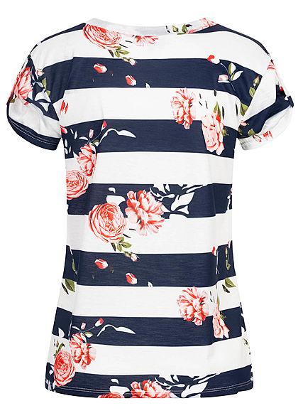 Fresh Tee Damen T-Shirt mit Ärmelumschlag Rosen Streifen Muster weiss blau