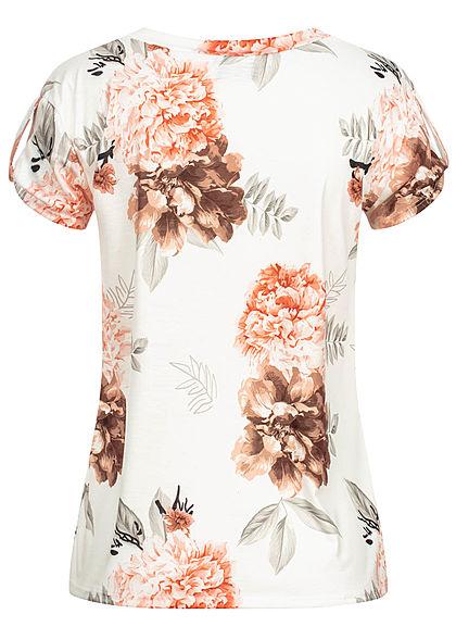 Fresh Tee Damen T-Shirt mit Ärmelumschlag Blumen Muster weiss
