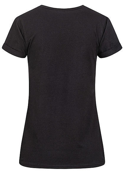 Fresh Tee Damen T-Shirt Print Nerd Hase schwarz