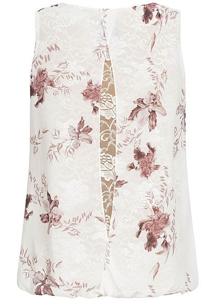 Styleboom Fashion Damen Chiffon Top mit Spitzenbesatz Blumen Muster weiss