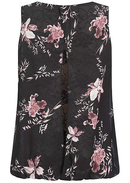 Styleboom Fashion Damen Chiffon Top mit Spitzenbesatz Blumen Muster schwarz