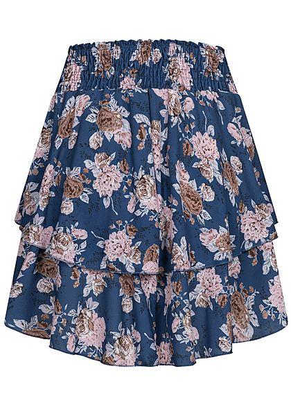 Styleboom Fashion Damen Mini Stufenrock Blumen Muster breiter Bund navy blau rosa