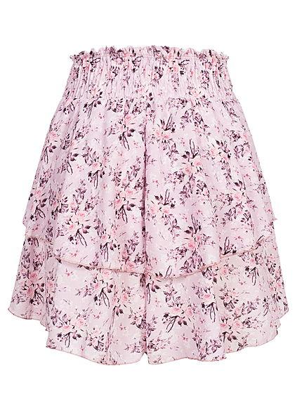 Styleboom Fashion Damen Mini Stufenrock Blumen Muster breiter Bund rosa