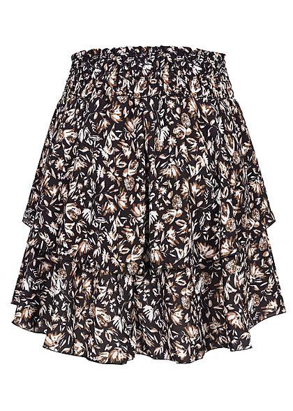 Styleboom Fashion Damen Mini Stufenrock Blumen Muster breiter Bund schwarz
