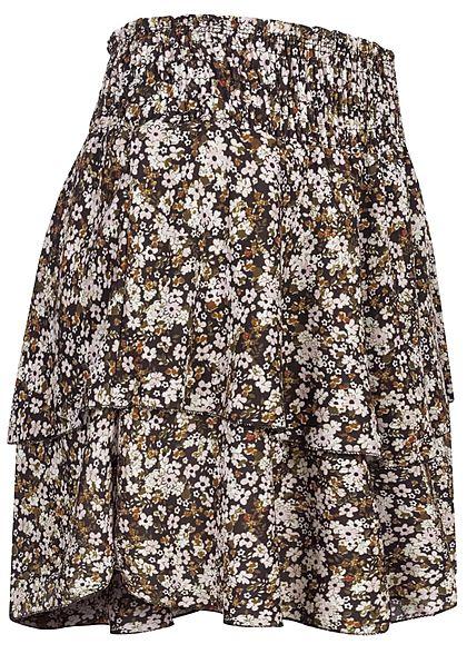 Styleboom Fashion Damen Mini Stufenrock Blumen Muster breiter Bund schwarz weiss