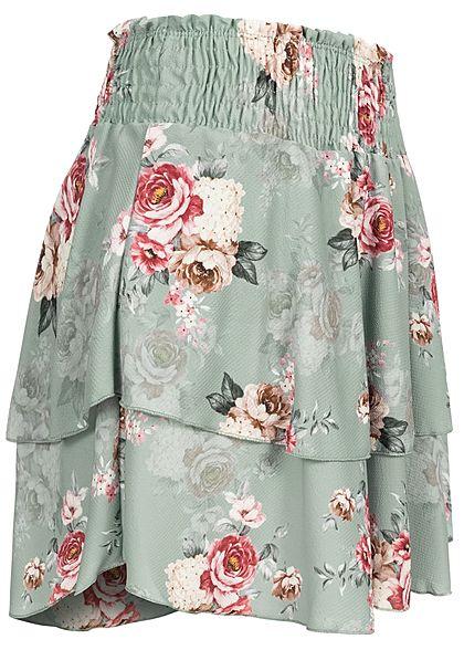 Styleboom Fashion Damen Mini Stufenrock Rosen Muster breiter Bund jade grün pink
