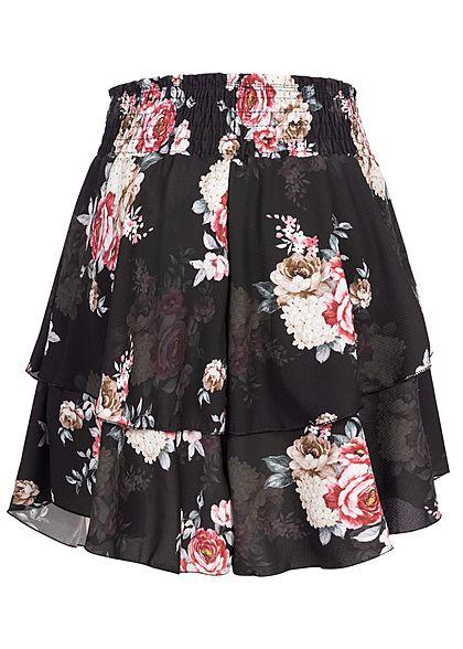 Styleboom Fashion Damen Mini Stufenrock Rosen Muster breiter Bund schwarz pink