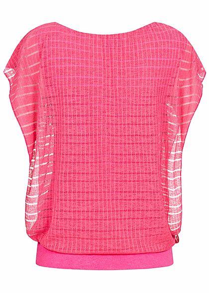 Styleboom Fashion Damen Top 2-lagig Fledermausärmel breiter Bund coral pink