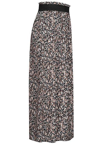 Styleboom Fashion Damen Paperbag Longform Rock Blumen Print schwarz beige
