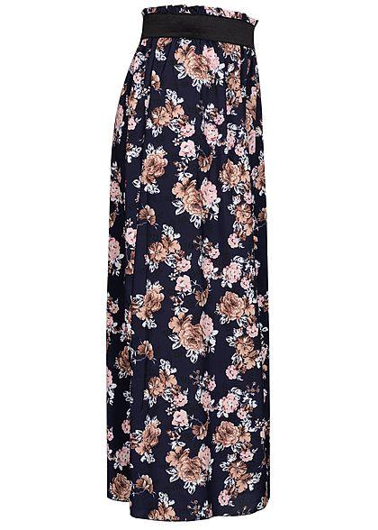 Styleboom Fashion Damen Paperbag Longform Rock Blumen Print navy rosa beige